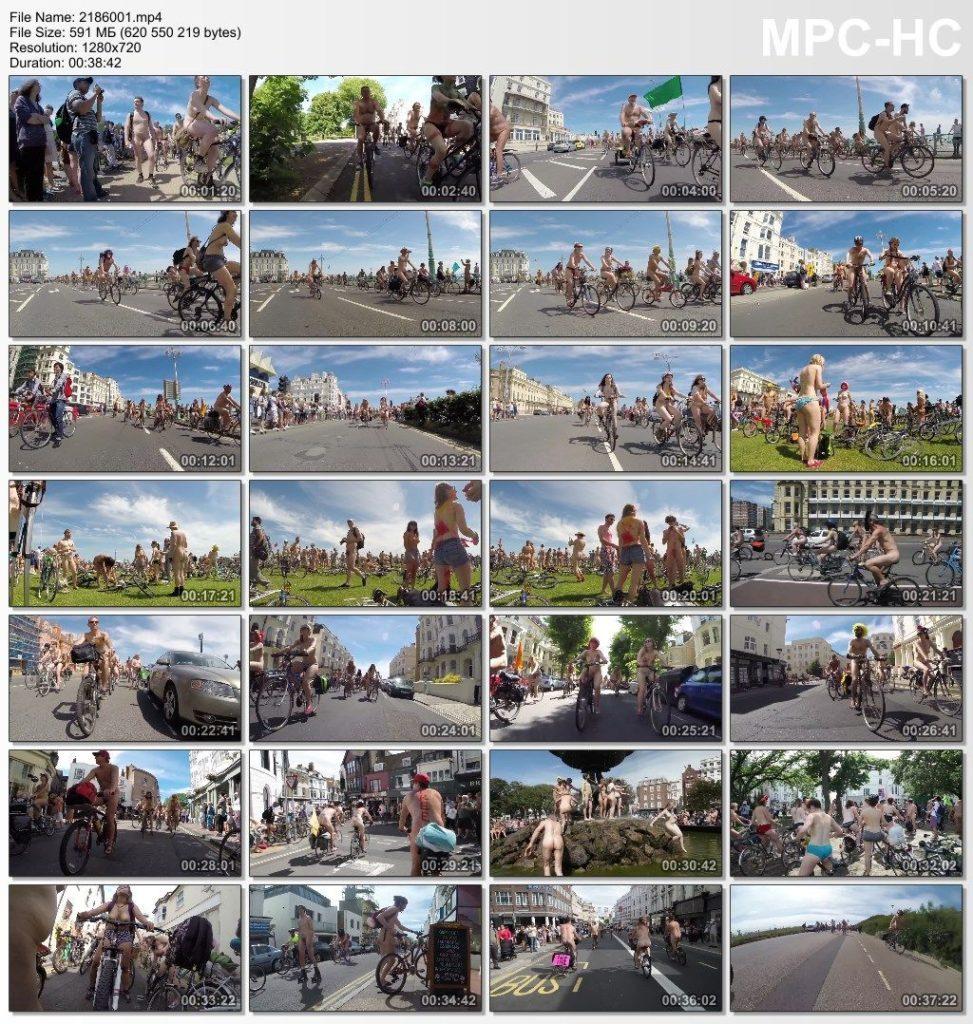 Naked bike ride around Brighton